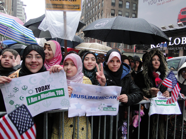 "A coalition of interfaith organizations called ""Today I Am a Muslim Too"" rallied against the upcoming Congressional hearings on the radicalization of American Muslims"