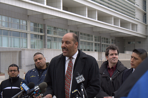 Miranda speaking at a press conference in Suffolk County about allegations of the mishandling of hate crimes