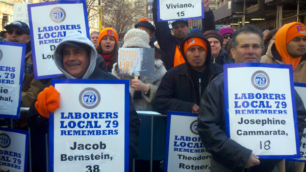 Immigrant workers marched to remember the victims of the Triangle Shirtwaist Fire (Photo: Catalina Jaramillo)