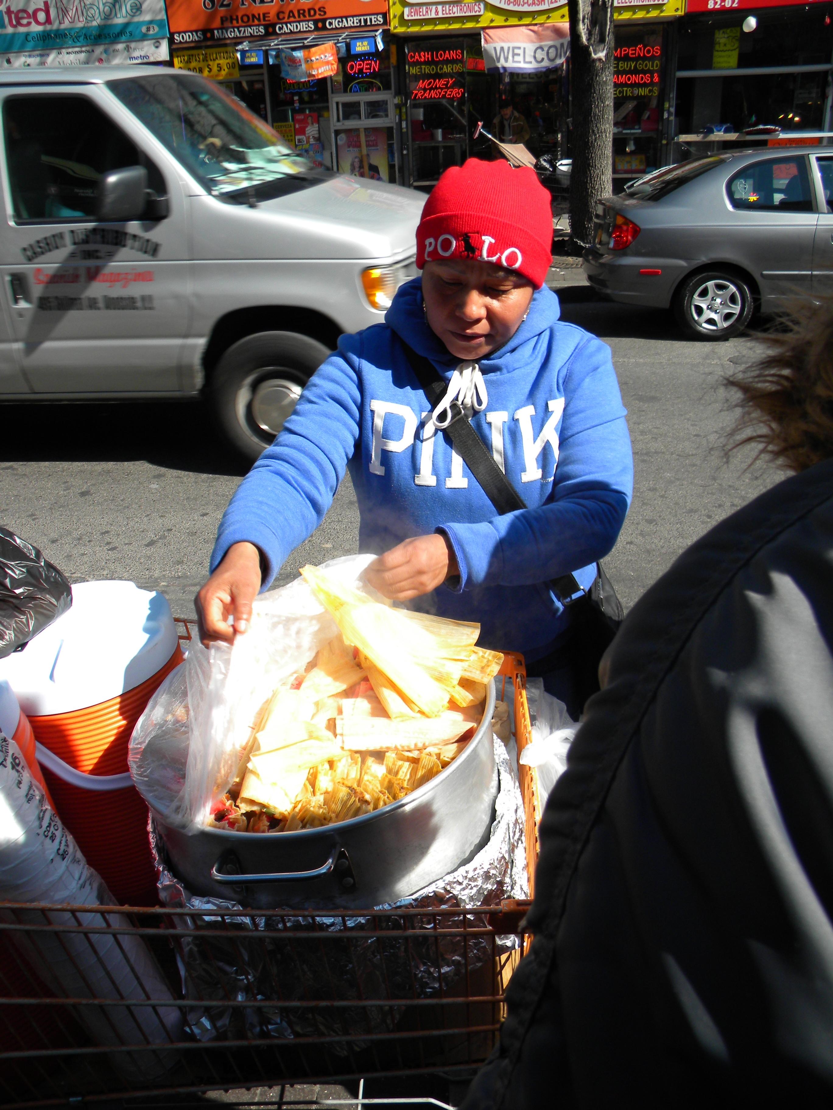 Street vendor selling tamales in Jackson Heights