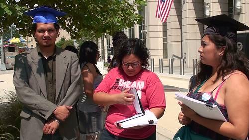 DREAMers deliver petitions in D.C. From L-R, Matias Ramos, Tania Unzueta, and Dulce Matuz. (Photo Via America's Voice/flickr)