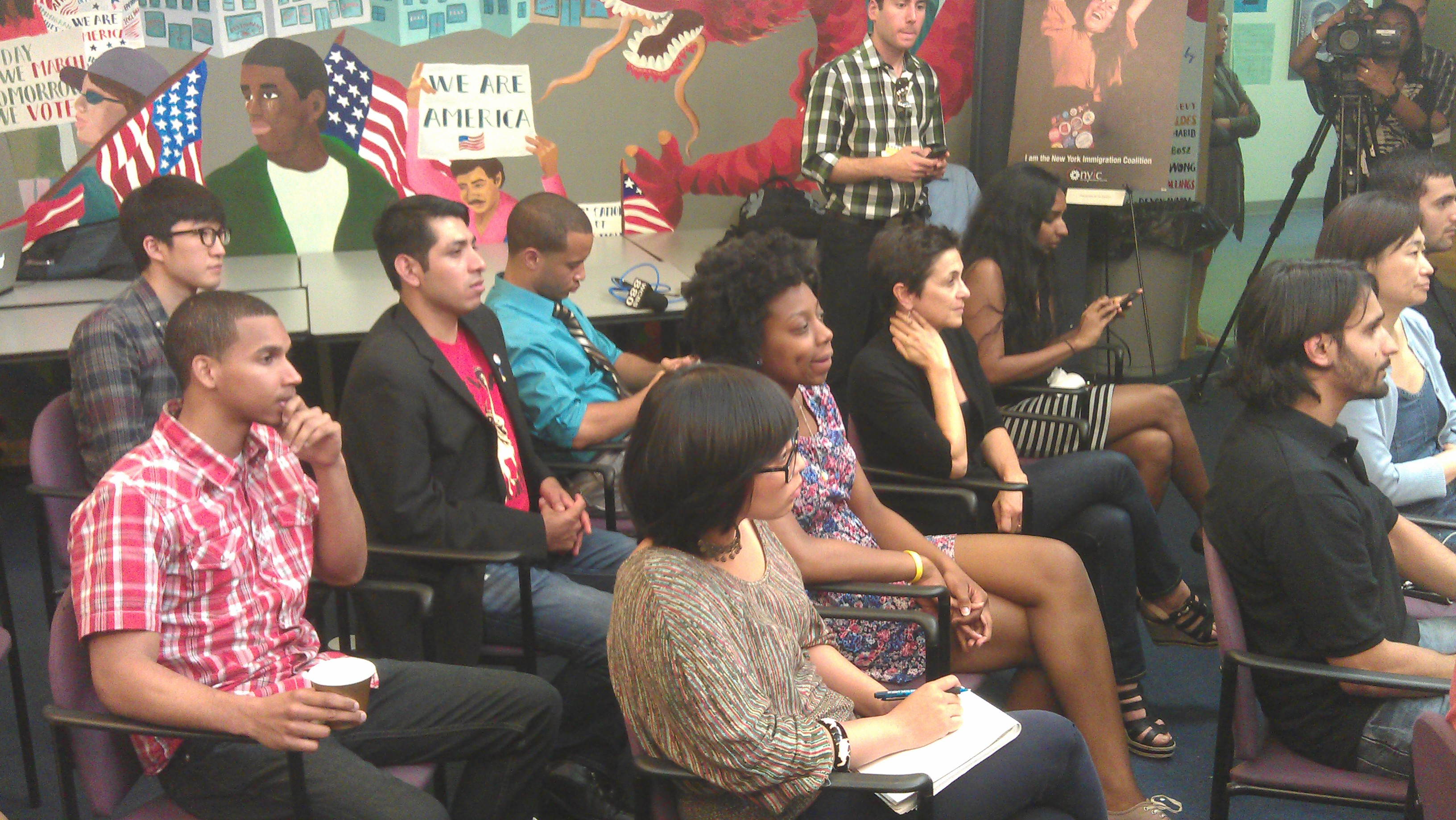 Activists and Dreamers watch President Obama's speech Friday afternoon at the headquarters of the New York Immigration Coalition. (Photo: Justin Mitchell)