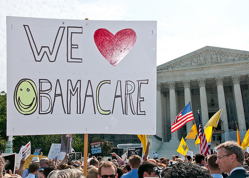Supporters of the Affordable Care Act rallied outside of the Supreme Court after the justices largely upheld the health care law. (Photo: SEIU/flickr)