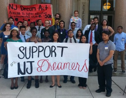 New Jersey DREAMers call for tuition equality for undocumented students at a rally in front of  the State House in Trenton.  Photo courtesy of Giancarlo Tello