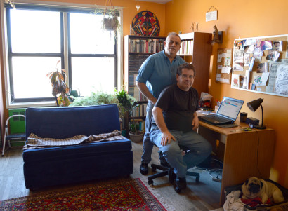 Santiago Ortiz (left) and Pablo García at their home in Elmhurst, Queens. (Photo: Marin Watts)