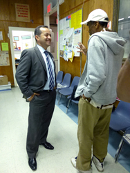 Zead Ramadan campaigning at the Hamilton Grange Senior Center (Photo: Von Diaz)
