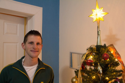 Marion Meinen with his Christmas tree. (Photo: Miranda Shafer)