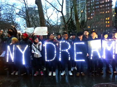 Demonstration following the failure of the NY DREAM Act in March. (Photo: Von Diaz)